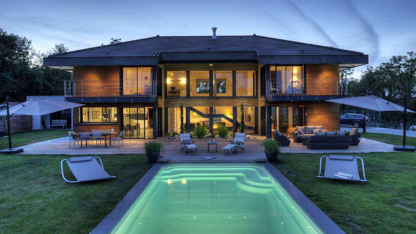 Maison ossature bois for Plan maison haut de gamme